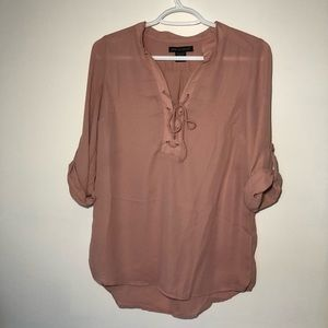 Front Lace Up Tunic Top